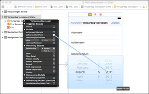 Een app maken via het venster van Xcode