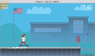 Het eindresultaat van het Schoolhouse Skaterboarder-spel